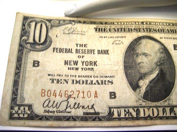 10 dollar Bill New York Federal Reserve