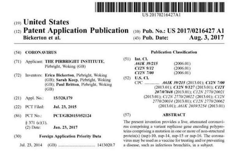 Coronavirus-patent