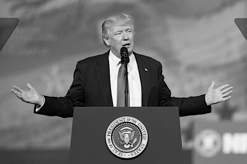 President Donald Trump speaking at the American Conservative