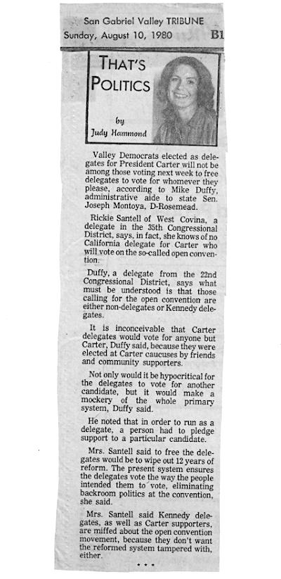 Rickie Santell Jimmy Carter August 11 1980